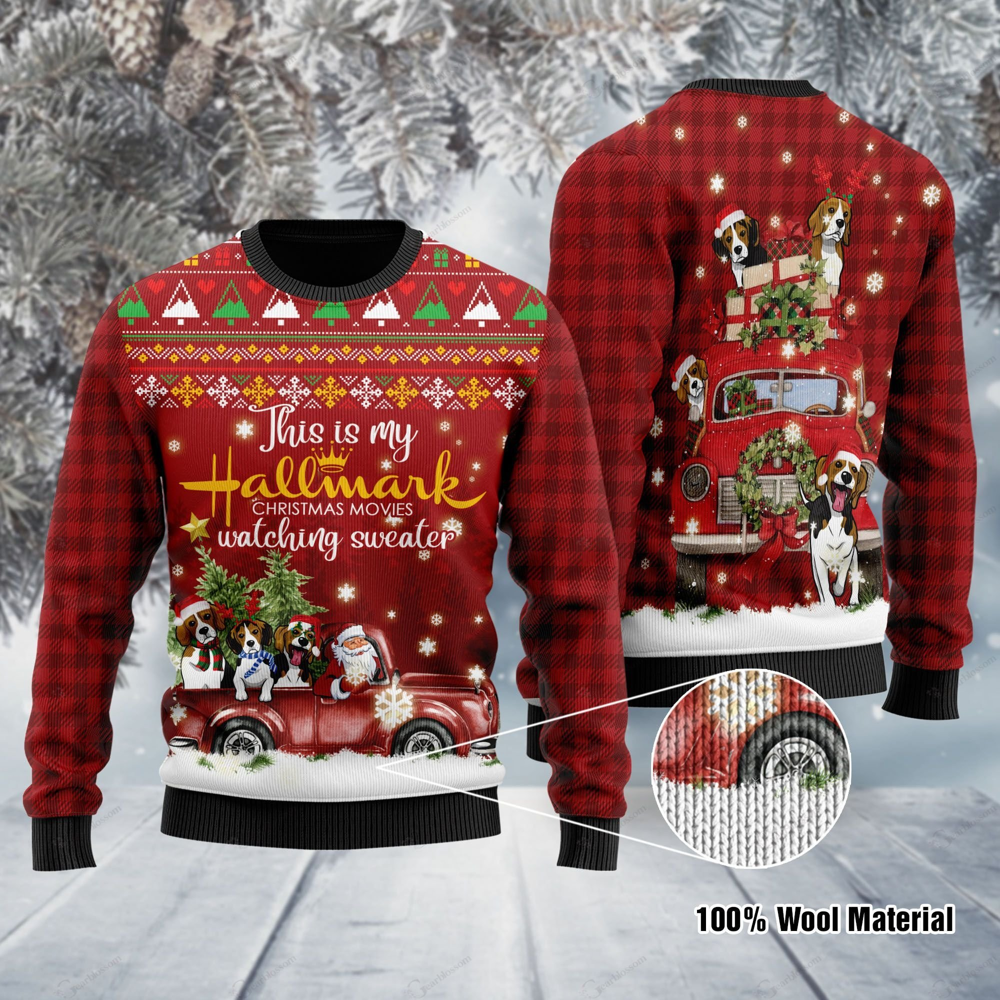 Beagle And Santa Claus With Sayings This Is My Hallmark Christmas Movie Watching Ugly Wool Sweater For Beagle And Hallmark Lover Ugly Wool Sweater