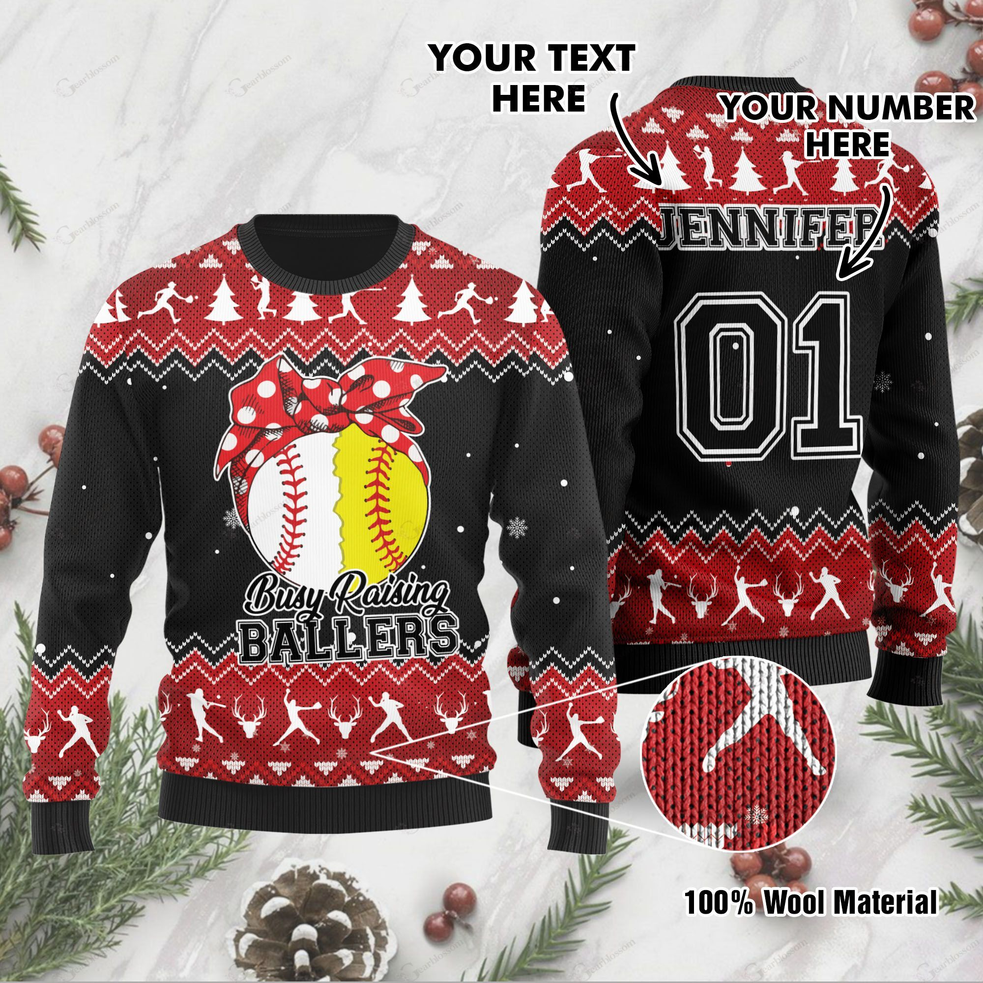Busy Raising Ballers Baseball And Softball Custom Name And Number Ugly Christmas Wool Sweater For Baseball And Softball Lovers And In Daily Life